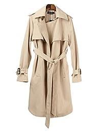 Aoibox Women's Elegant British Long Trench Coat Cardigan With Belt
