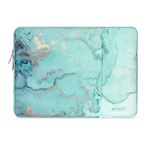 MOSISO Laptop Sleeve Case Compatible with 2020 2019 MacBook Pro 16 inch with Touch Bar A2141, 15-15.6 inch MacBook Pro Retina 2012-2015, Notebook, Polyester Vertical Watercolor Marble Bag, Green