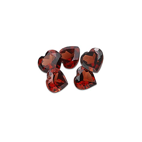 4.60 Cts of 6x6 mm AAA Heart Matching Loose Garnet (5 pcs set) Gemstones ()
