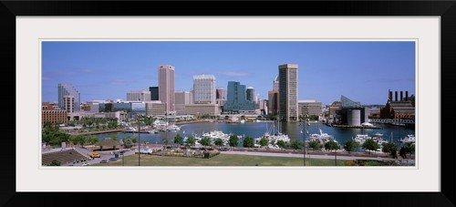 GreatBIGCanvas ''Inner Harbor Skyline Baltimore MD'' Photographic Print with Black Frame, 36'' x 12'' by greatBIGcanvas