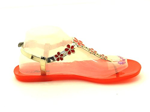 Womens Fashion Shining Jelly Gladiator Flip Flop Sling Back Flat Toe Post Thong Sandal Shoes Red BXW7uXf