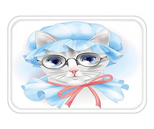 Minicoso Doormat Cat Lover Decor Collection Granny Grandma Old Kitty with Her Old-Fashioned Pyjamas and Reading Glasses Artsy Blue Pink - Francisco Glasses Reading San