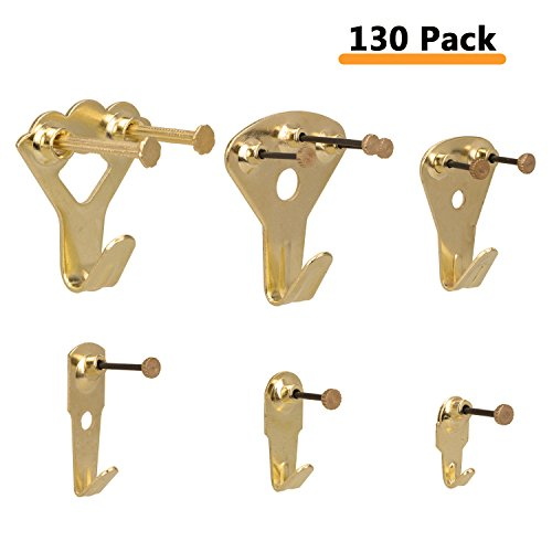 Picture Hangers, Overfly 130 Pieces Picture Hooks Frame Hanger, Heavy Duty Picture Hanging Kit with Nails for Wall Mounting, Holds 10-100 lbs, Golden by Overfly