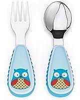 Skip Hop Baby Zoo Little Kid and Toddler Fork and Spoon Utensil Set, Multi Otis Owl