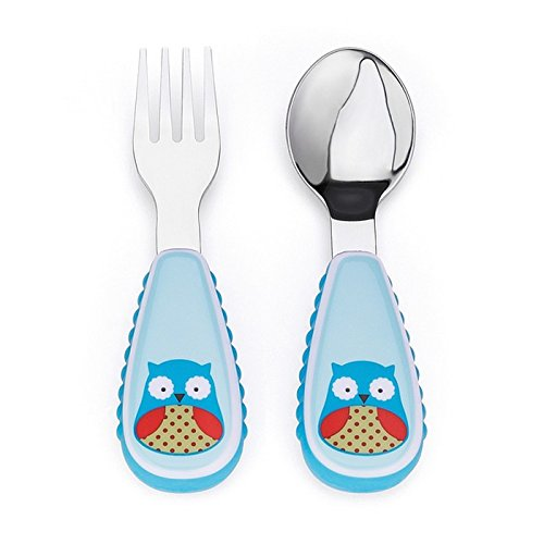 Skip Hop Baby Zoo Little Kid and Toddler Fork and Spoon Utensil Set, Multi Otis Owl