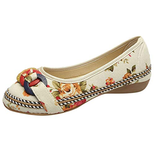 Goddessvan Women Ethnic Beading Colorful Embroidered Shoes Casual Wooden Hemp Rope Low-Heeled Shoes Beige ()