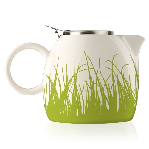 Tea Forte PUGG 24oz Ceramic Teapot with Tea Infuser, Spring Grass Colonial Coffee Pot