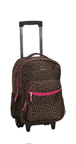 """Rockland Pink Leopard 17"""" Rolling Backpack"""