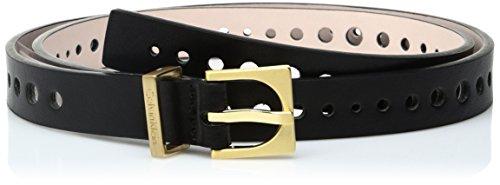Smooth Leather Belt Strap (Calvin Klein Women's 20mm Flat Strap Perforated Smooth Leather Belt, black,)