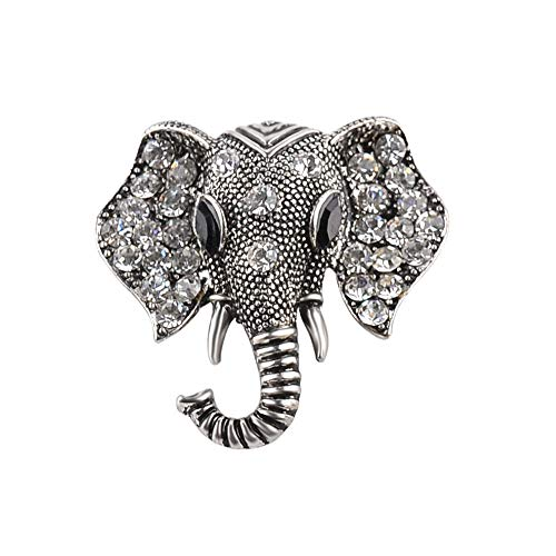 Rhinestone Elephant Pin - Idealway Silver Gold Plated Alloy Crystal Rhinestone Elephant Brooch Pins for Women Jewelry (White)