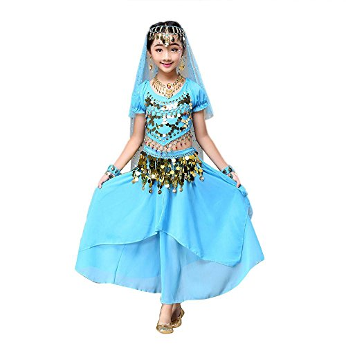 [Kids' Costume Foutou Girls Belly India Dance Outfit Clothes Short Sleeve Top+Skirt (M, Blue)] (Ballroom Dance Costume For Kids)