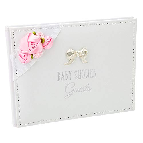 Happy Homewares Beautiful Baby Shower Guest Book with Pink Faux-Silk Roses and Silver Metal Double Bow Inner Pages Read Family & Friends to Write