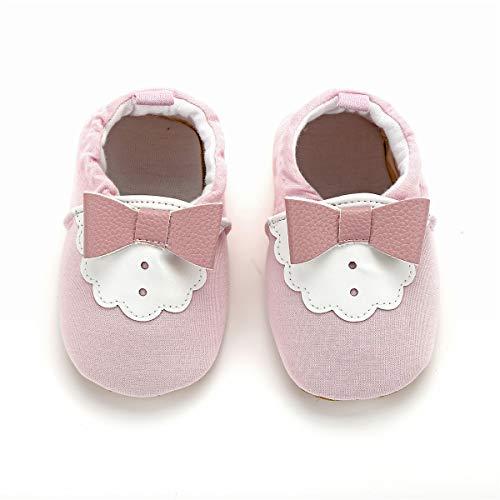KOSHINE Fox First Walker Cloth Baby Shoes Toddler Mocassins Infant Prewalker for Girl Boy (Pink Bowknot, 9-12 Months/5.0inch)