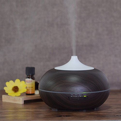 Mermaid 300ML Aromatherapy Diffuser-Ultrasonic Essential Oil Humidifier Wood Grain Lonizer with 7 Color LED Lights Changing & 4 Timer Settings, Waterless Auto Shut-Off for Office Home Room(BLACK)