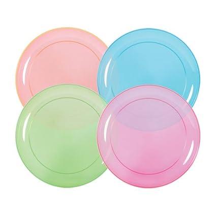 Hard Plastic Plates 6-Inch Round Party/Dessert Plates Assorted Neon  sc 1 st  Amazon.com & Amazon.com: Hard Plastic Plates 6-Inch Round Party/Dessert Plates ...