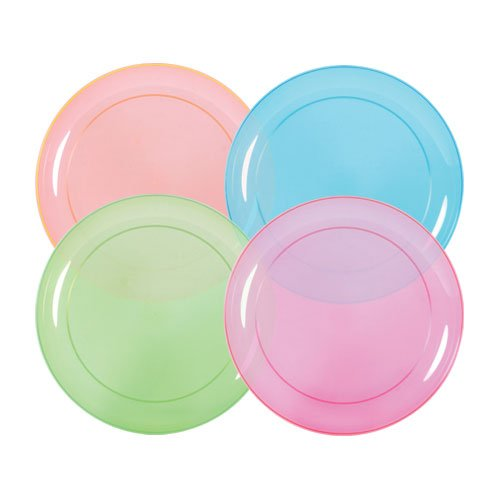 Hard Plastic Plates, 6-Inch Round, Party/Dessert Plates, Assorted Neon, Value Pack- 40 Count 40 Assorted Teas