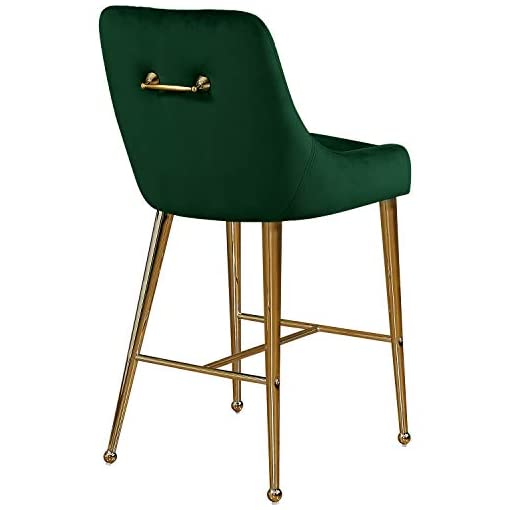 Kitchen Meridian Furniture Owen Collection Modern   Contemporary Velvet Upholstered Counter Stool with Polished Gold Metal Legs… modern barstools