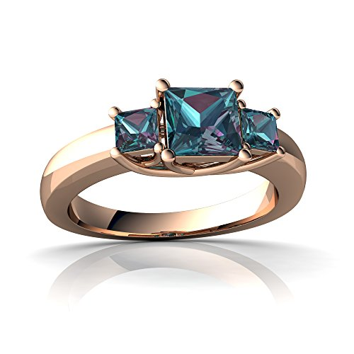 14kt Rose Gold Lab Alexandrite 3mm Square Three Stone Trellis Ring - Size 9 (Alexandrite Ring 14kt)