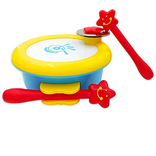 ISEE Baby Musical Toys Drum, Infant Learning Instrument Toy for 1 2 Year Old Girl Boy, Children Handheld Percussion Take Along Tunes with Music Beat. My First Instruments 6 12 Months Babies Toddler ()