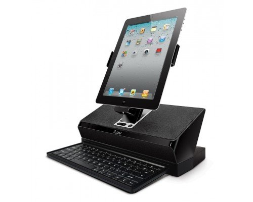 Iluv Ipod Docking - iLuv WorkStation Mobile Computing Station with Dock, Keyboard and Audio for Apple iPad, iPhone and iPod Touch (iMM737BLK)