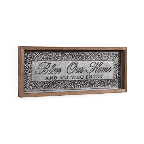 Danya B. CU25634 Framed Hanging Metal Welcome Wall Sign with Message - Bless Our Home