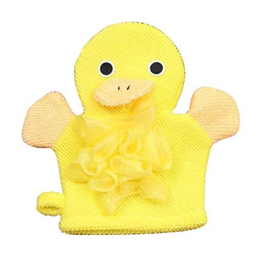 Baby Bath Shower Gloves, Cute Cartoon Animal Bath Mitts Puppet Style Super Soft Baby Bathing Glove Sponge for Newborn Baby Children(Yellow) ()