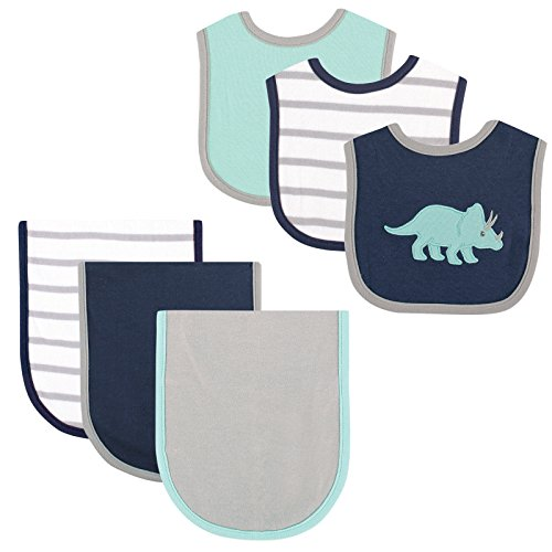 Hudson Baby 6 Piece Bib and Burp Cloth Set, Blue Dino ()