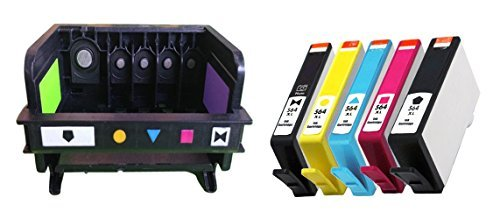 ESTON 1 PACK Printhead Replacement for HP 564 Printhead (5-slot) & 5 PACK (BK PBK C M Y) 564XL High Yield Ink Cartridge by ESTON