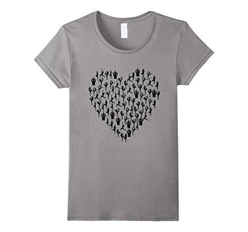 Raja Slate (Womens Yoga Love Heart T-Shirt Yogi Hatha Raja Ashtanga Graphic Tee Small Slate)