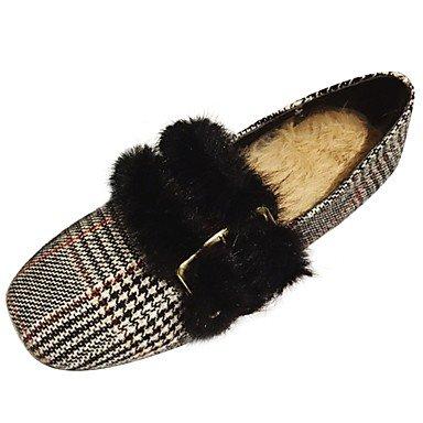 US5.5   EU36   UK3.5   CN35 Wuyulunbi@ Chaussures femmes de confort d'hiver Appartements bout carré pour l'extérieur noir