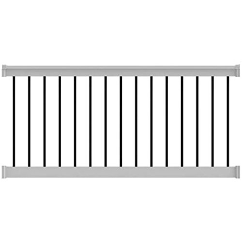 (T-Top Level Rail Vinyl Kit White with Round Aluminum Balusters (8 in. x 36 in.))