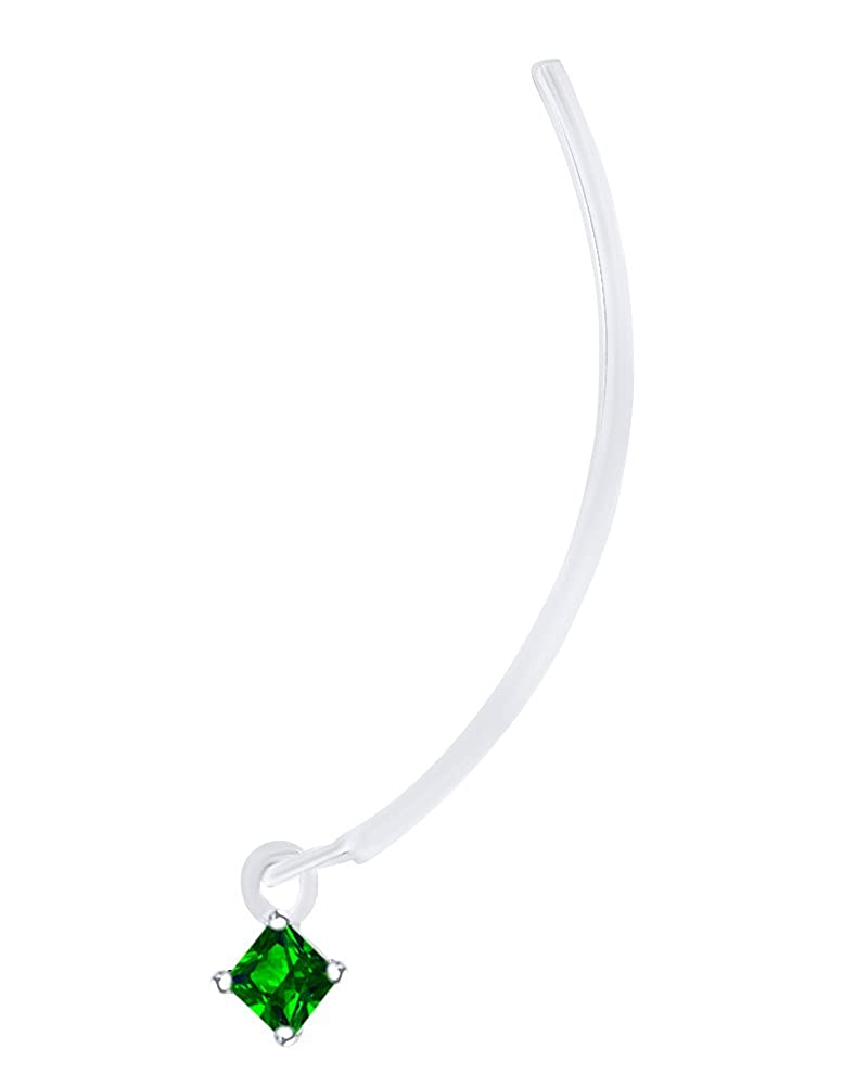 Mothers Gift Princess Cut Simulated Emerald Long Wire Threader Stud Earring In 14K Solid Gold