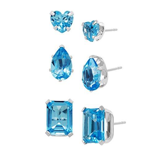 4 1/3 ct Natural Swiss Blue Topaz Stud Earrings Set in Sterling Silver - Swiss Blue Topaz Earrings