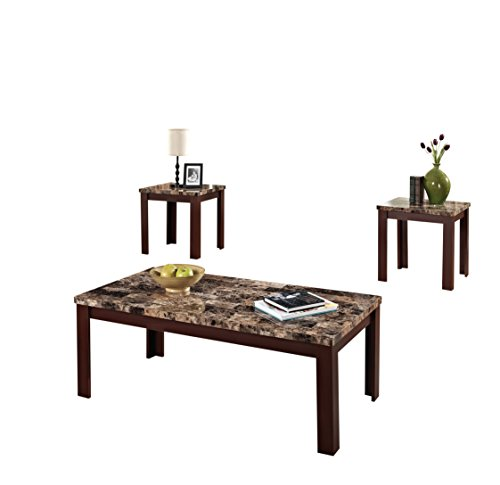 ACME Finely Light Brown Faux Marble Coffee End Table Set (3 Piece Living Room Sofa Table)