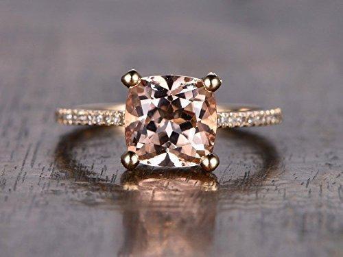 morganite engagement ring cushion cut 8mm vs gemstone si i j diamond 14k rose goldball - Morganite Wedding Rings