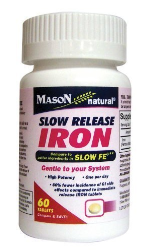 3 Pack Special of MASON NATURAL SLOW RELEASE IRON (SLOW FE) Bottled 60 tablets per bottle