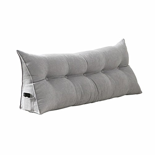 M&Z Cotton Linen Filled Triangular Wedge Cushion Bed Backrest Positioning Support Pillow Reading Pillow Home Office Lumbar Pad With Removable Cover, Queen Bed Rest Pillows,Gray,200X50cm