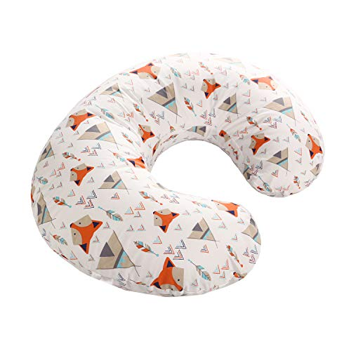 LAT Nursing Pillow Cover,100% Natural Cotton Breastfeeding Pillow Slipcover,Extra Soft and Snug on Baby Nursing Pillow(Orange Fox)