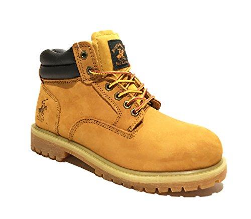 Polo Club Men's Premium Full-Grain Leather Plain Rubber Sole Soft Toe Work Boots Snow Boots (10.5) (Plain Toe Rubber Boot)