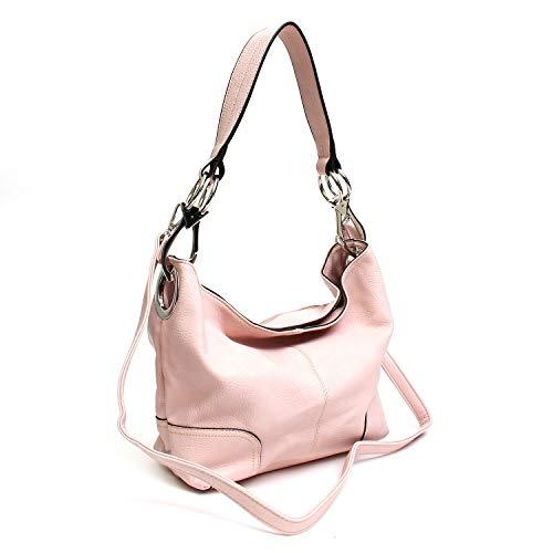 Pink Bucket Bag - Americana Bucket Style Hobo Shoulder Bag with Big Snap Hook Hardware