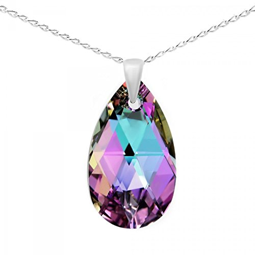 Sterling Silver Made with Swarovski Crystals Pink Purple Blue Teardrop Pendant Necklace,18