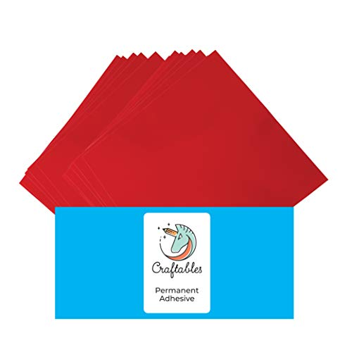 Craftables Red Vinyl Sheets - Permanent, Adhesive, Glossy & Waterproof | (10) 12 x 12 Sheets- for Crafts, Cricut, Silhouette, Expressions, Cameo, Signs