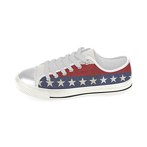 D-Story Custom Vintage Background With Stripes and Stars Womens Classic Canvas Shoes Fashion Sneaker glIo6Id