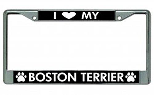 Terrier License Plate Frame (I Love My Boston Terrier Chrome License Plate Frame)