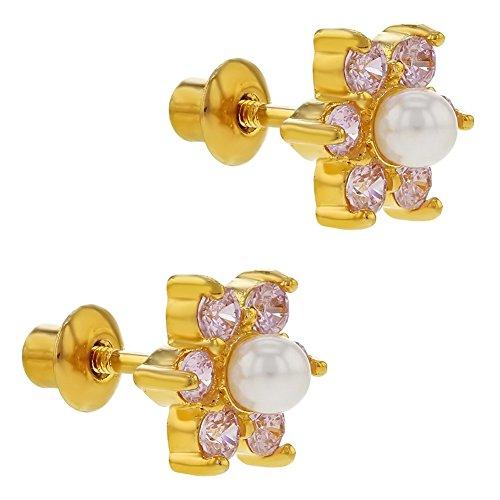 1d6114fe800a In Season Jewelry - Chapado en Oro 18k Perlas de Imitación Blanca y Cristal  Rosa Aretes