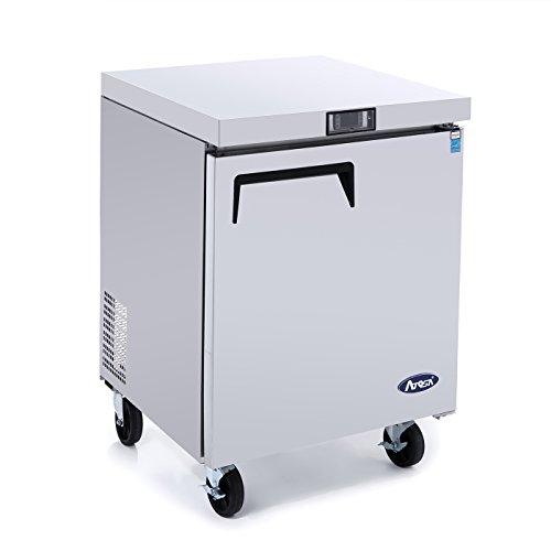 Commercial Undercounter Freezer,ATOSA Commercial Small Beverage Cooler Freezer Fridge Center MGF8405 Single 1 Door Stainless Steel Horizontal Refrigerators6.5 Cu.Ft.27.5W30D36.6H inch-10℉-0℉