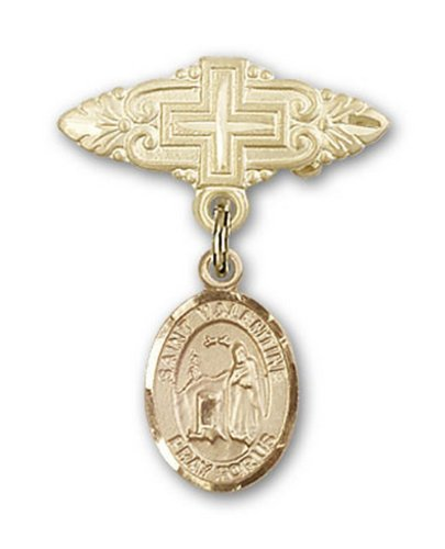 Icecarats Or Bijoux De Créateurs Rempli R. Valentine De Rome Broche De Badge Charme Avec Une Croix X 3/4