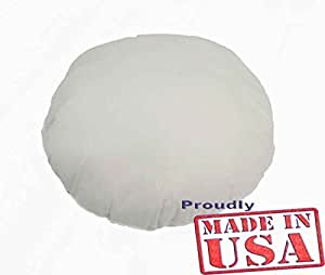 16 inch ROUND Pillow Insert Sham Square Form Polyester Premium Hypoallergenic Stuffer, Standard / White - MADE IN USA
