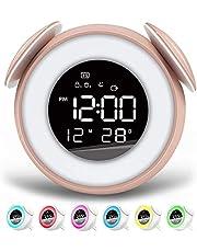 FettleLife Retro Digitale Wekker met Wake Up Light - Nachtlampje, Dubbel Alarm, Back-up Batterij, Digitale Wekker met Alarm en LED lamp, Oneindig Snoozen, RGB LED, Helderheid en Geluid Niveaus, USB-aansluiting