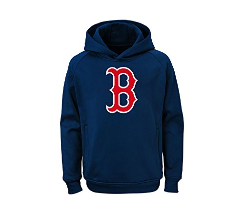 Outerstuff MLB Youth Team Color Performance Primary Logo Pullover Sweatshirt Hoodie (Large 14/16, Boston Red Sox)